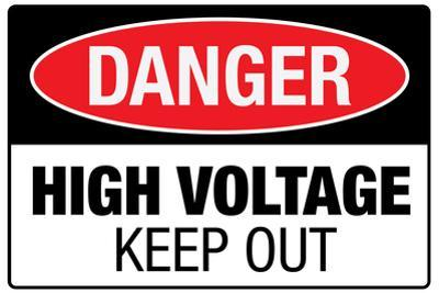 High Voltage Warning Keep Out Plastic Sign