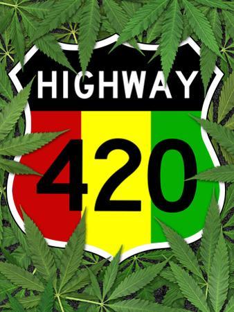 Highway 420 Marijuana Sign Poster Print