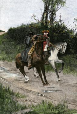 Highwayman Dick Turpin Holding Up a Rider on An English Road, 1700s