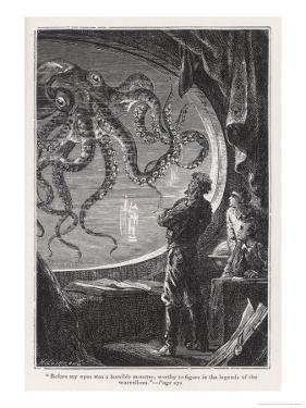 20,000 Leagues Under the Sea: Giant Squid Seen from the Safety of the Nautilus by Hildebrand