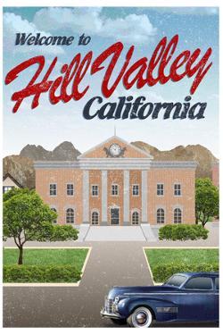 Hill Valley California Retro Travel Plastic Sign