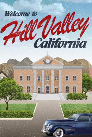 Hill Valley California Retro Travel Poster