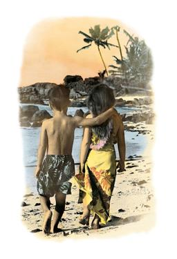 Young Sweethearts, Hand Colored Photo of Hawaiian Children by Himani