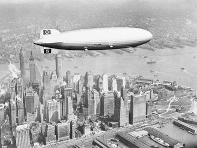 Hindenburg Flying over Lower Manhattan
