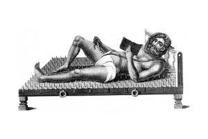 Hindu Philosopher Pararum Soatuntre Perkasanund Reclining on a Bed of Iron Spikes, 1811
