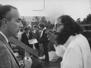 Hippie Poet Allen Ginsberg Speaking to Conservative-Looking Man During Vietnam War Protest Rally