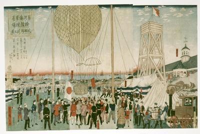 Japanese Navy Testing a Hot Air Balloon in Tsukiji, 1877