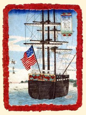 American Ship In Japanese Port by Hiroshige Utagawa