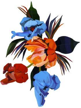Red and Orange and light blue tulips by Hiroyuki Izutsu