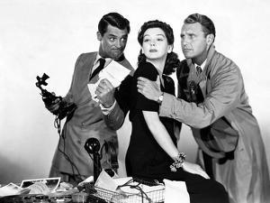 HIS GIRL FRIDAY, 1940 directed by HOWARD HAWKS Cary Grant, Rosalind Russell and Ralph Bellamy (b/w