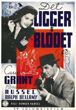 His Girl Friday, Swedish Movie Poster, 1940