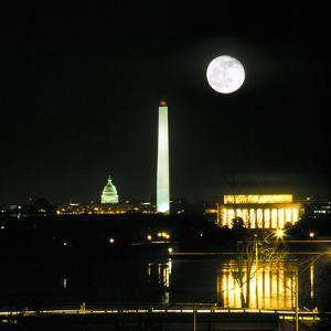 Washington DC Skyline and Monuments at Night by Hisham Ibrahim