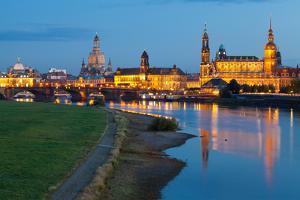 Historic Center of Dresden at Dusk, Elbe River, Saxony, Germany