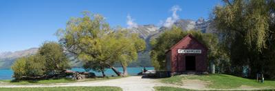 Historic Glenorchy receiving barn at pier on Lake Wakatipu, Otago Region, South Island, New Zealand