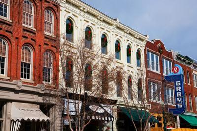 Historic Main Street with Red Brick Storefronts and Gray's Pharmacy in Franklin, Tennessee, a su...