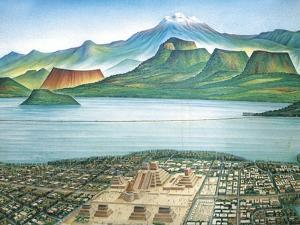 Historic View of Tenochtitlan, Ancient Capital of the Aztec Empire, and the Valley of Mexico