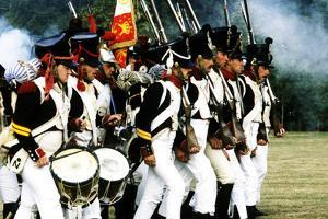 Historical Re-Enactment of French Napoleonic Troops in Battle 1815, as Deployed at Waterloo