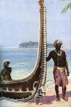 War Canoe, Solomon Islands, C1923 by HJ Shepstone
