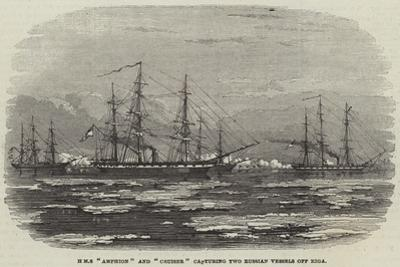 HMS Amphion and Cruiser Capturing Two Russian Vessels Off Riga