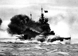 HMS 'Duke of York' Firing a Broadside; Second World War