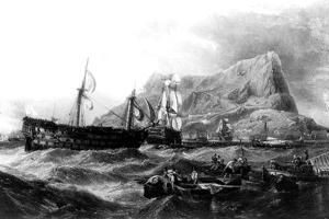 HMS Victory Towed Back to Gibraltar, 1805, 19th Century