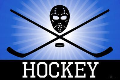 Hockey Blue Sports Poster Print