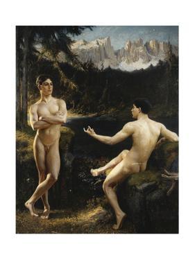 Male Nudes by a River in an Alpine Landscape by Hofer Gottfried