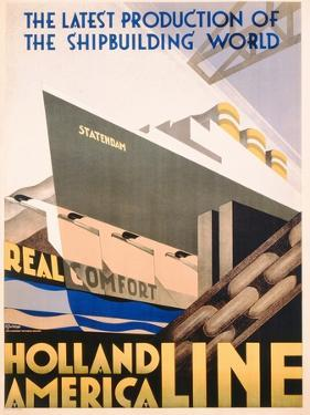 Advertisement for the Holland America Line, c.1932 by Hoff