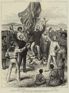 Hoisting the British Flag in New Guinea, Mr H M Chester, Queensland Magistrate, Calling for Cheers