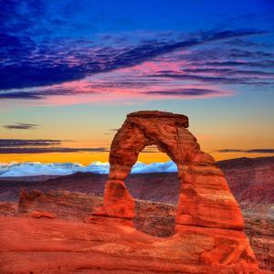 Arches National Park Delicate Arch Sunset in Moab Utah USA Photo Mount by holbox