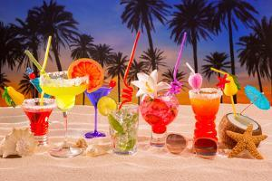 Beach Tropical Cocktails on White Sand Mojito Blue Hawaii on Sunset Palm Trees by holbox