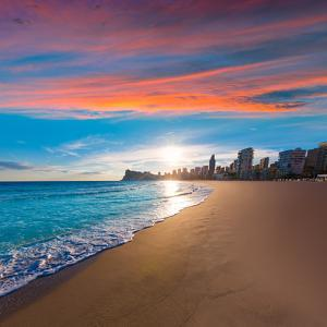 Benidorm Alicante Playa De Poniente Beach Sunset in Spain Valencian Community by holbox