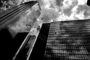 Black and White Houston Texas Downtown Mirror Buildings Detail by holbox