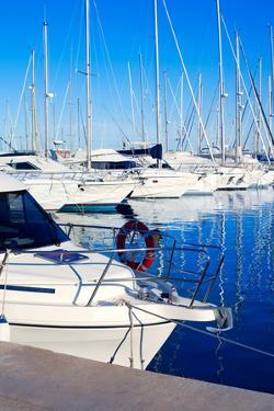 Blue Denia Marina Port in Alicante Spain with Boats in a Row by holbox