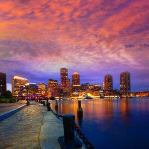 Boston Sunset Skyline from Fan Pier in Massachusetts USA by holbox