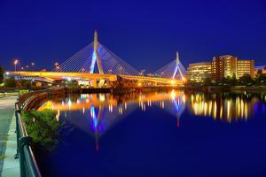 Boston Zakim Bridge Sunset in Bunker Hill Massachusetts USA by holbox