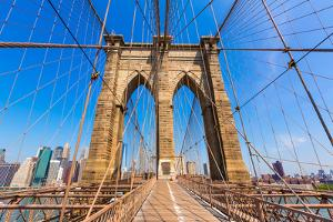 Brooklyn Bridge and Manhattan New York City US USA by holbox