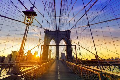 Brooklyn Bridge Sunset New York Manhattan Skyline NY NYC USA