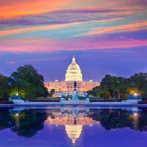 Capitol Building Sunset Congress of USA Washington DC US by holbox