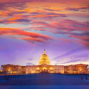 Capitol Building Washington DC Sunset at US Congress USA by holbox