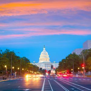 Capitol Sunset Pennsylvania Avenue Congress Washington DC USA by holbox