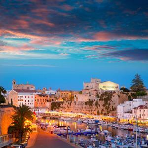 Ciutadella Menorca Marina Port Sunset Town Hall and Cathedral in Balearic Islands by holbox