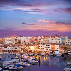 Ciutadella Menorca Marina Port Sunset with Boats and Streetlights in Balearic Islands by holbox