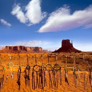 Dreamcatcher Monument West Mitten Butte Morning With Navajo Indian Crafts Utah by holbox