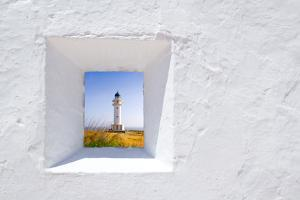Formentera Mediterranean White Window with Barbaria Lighthouse by holbox
