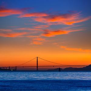 Golden Gate Bridge Sunset in San Francisco California USA by holbox