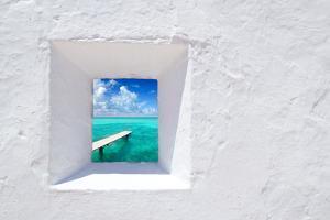Ibiza Mediterranean White Wall Window with Formentera Beach View [Photo-Illustration] by holbox
