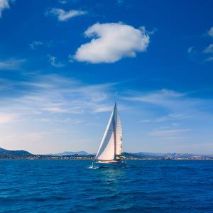 Javea Sailboat Sailing in Xabia at Mediterranean Alicante of Spain by holbox