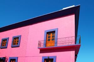 Mexican Pink House Facade Detail Wooden Doors by holbox
