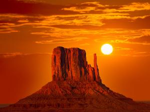 Monument Valley West Mitten at Sunrise Sun Orange Sky Utah Photo Mount by holbox